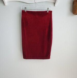 Sanctuary dark red velvet knit pencil skirt S